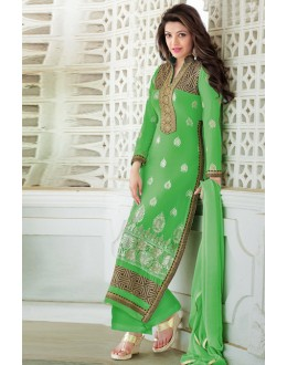 Festival Wear Green Georgette Palazzo Suit - 17180