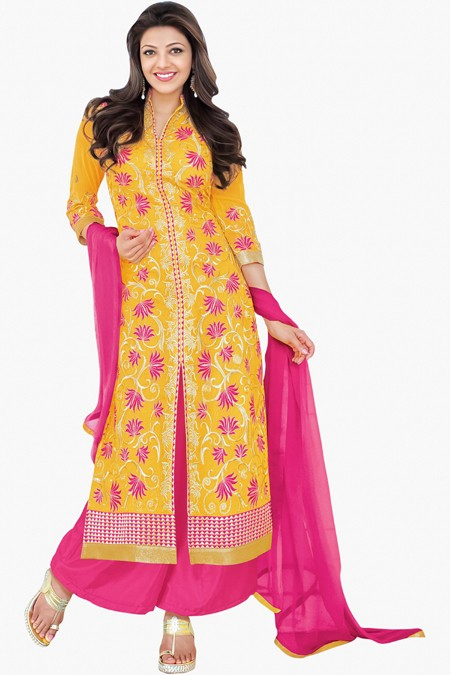 Ethnic Wear Yellow Georgette Palazzo Suit - 17181