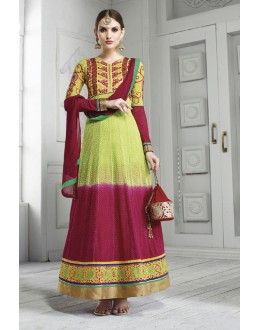 Party Wear Green Georgette Anarkali Suit  - 17202