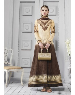 Georgette Cream & Brown Anarkali Suit  - 17204