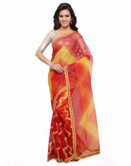 Casual Wear Multi-Colour Cotton Silk Bandhani Saree  - 17208