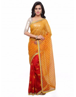 Casual Wear Multi-Colour Cotton Silk Bandhani Saree  - 17211