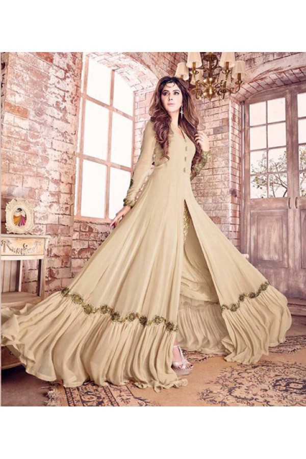 Festival Wear Cream Georgette Anarkali Suit  - 17217