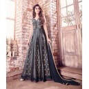Party Wear Grey Banarasi Silk Anarkali Suit  - 17218