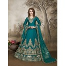 Weadding Wear Rama Green Tafeta Silk Anarkali Suit - 17230