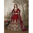 Festival Wear Red Marron Tafeta Silk Anarkali Suit - 17232