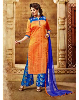 Office Wear Orange Banarasi Silk Palazzo Suit  - 17244