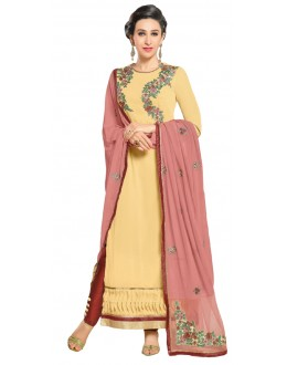 Karishma Kapoor In Off Yellow Georgette Salwar Suit  - 17248