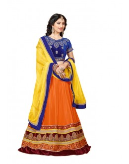 Orange Colour Velvet Embroidery Lehenga Choli - 17256