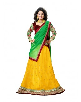 Hina Khan In Yellow Velvet Lehenga Choli - 17258