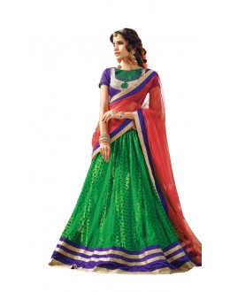 Green Colour Velvet Embroidery Lehenga Choli - 17259