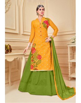 Party Wear Yellow Chanderi Cotton Lehenga Suit  - 17273