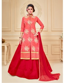 Red Colour Chanderi Cotton Lehenga Suit  - 17275