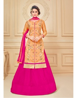 Party Wear Chanderi Cotton Lehenga Suit  - 17282