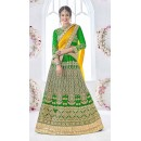 Bridal Wear Green Net Lehenga Choli - 17326