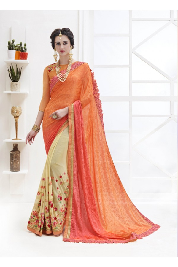 Multi-Colour Georgette Half & Half Saree  - 17369
