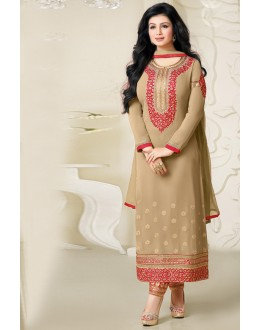 Ayesha Takia In Chickoo Georgette Salwar Suit  - 17386