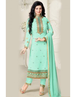 Ayesha Takia In Sky Green Georgette Salwar Suit  - 17392