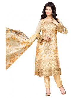 Ayesha Takia In Cream Georgette Salwar Suit  - 17400