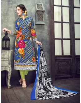 Casual Wear Blue Cambric Cotton Salwar Suit - 17941