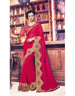 Party Wear Red Georgette Saree  - 17950