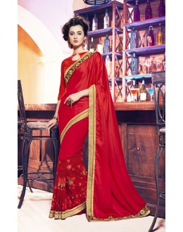 Ethnic Wear Red Moss Chiffon Saree  - 17957