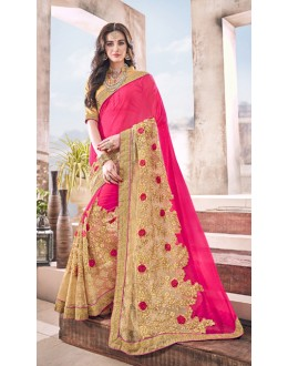 Festival Wear Pink Marble Saree  - 17960