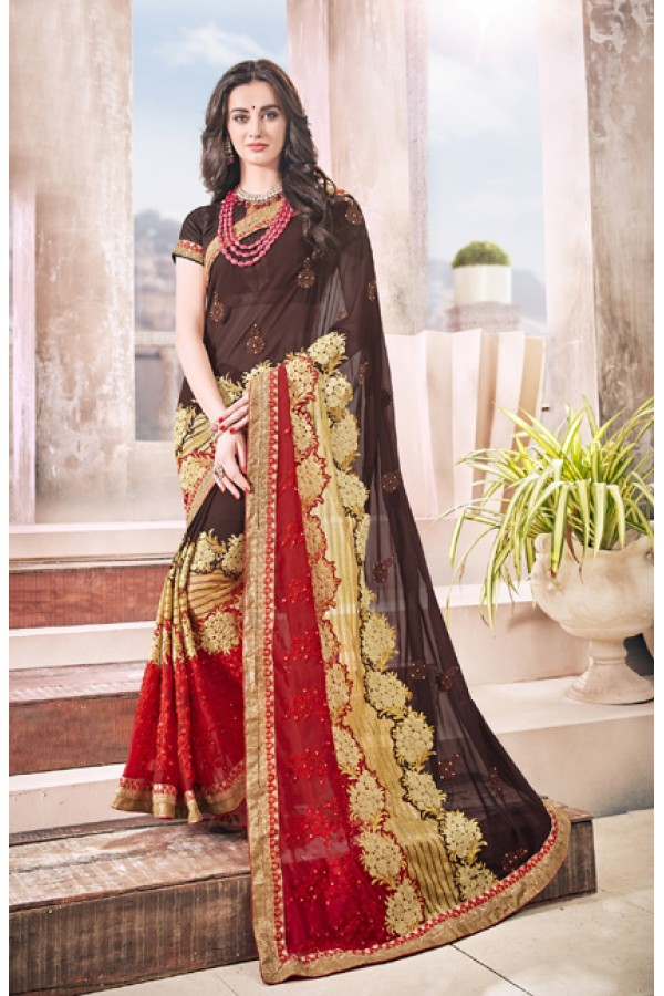Brown & Red Pure Georgette Saree  - 17962