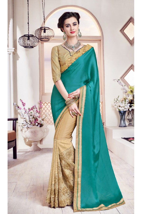 Festival Wear Rama Green & Gold Georgette Saree  - 17971
