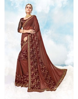 Ethnic Wear Light Brown Georgette Saree  - 17986