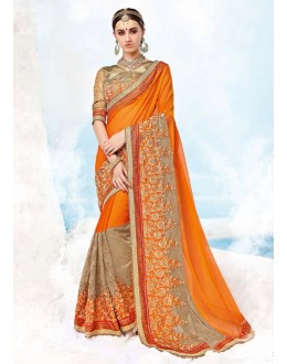 Party Wear Orange Georgette Saree  - 17989