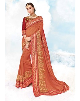 Ethnic Wear Orange Georgette Saree  - 17991