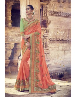 Designer Orange Georgette Saree  - 17996