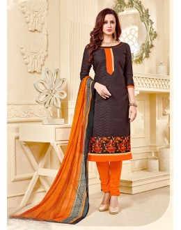 Office Wear Brown Brasso Cotton Salwar Suit - 18006