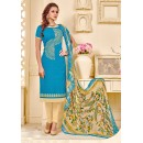 Office Wear Blue Brasso Cotton Salwar Suit - 18007