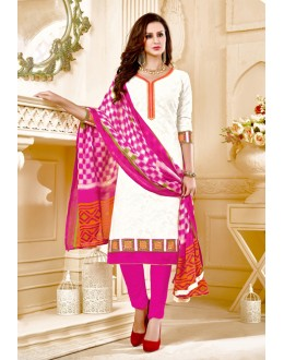 Ethnic Wear White Brasso Cotton Salwar Suit - 18008