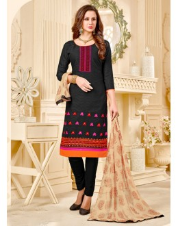 Casual Wear Black Brasso Cotton Salwar Suit - 18009