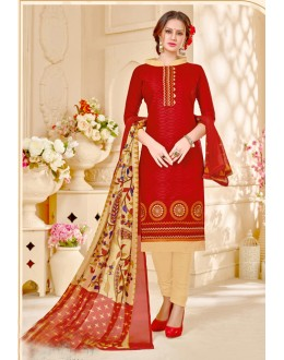 Festival Wear Red Brasso Cotton Salwar Suit - 18016