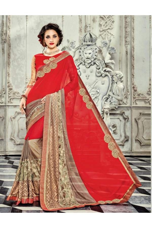 Ethnic Wear Red & Beige Georgette Saree  - 18021