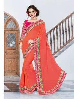 Ethnic Wear Peach Georgette Saree  - 18028