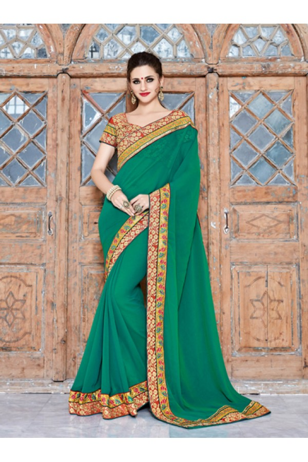 Party Wear Green Georgette Saree  - 18029
