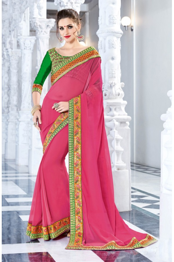 Festival Wear Pink Georgette Saree  - 18032