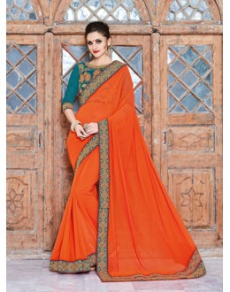 Ethnic Wear Orange Georgette Saree  - 18033