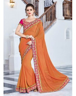 Traditional Orange Georgette Saree  - 18035