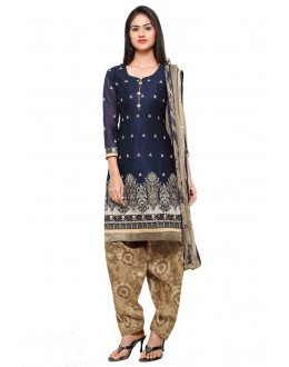 Office Wear Blue Cotton Patiyala Suit - 18036