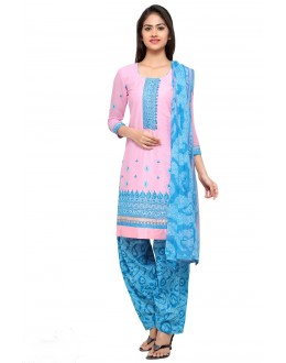 Party Wear Pink Cotton Patiyala Suit - 18040