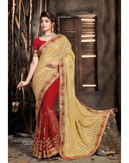 Festival Wear Gold & Red Net Saree  - 18047