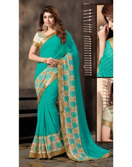 Ethnic Wear Green Chiffon Saree  - 18048