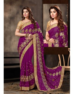 Party Wear Purple Georgette Saree  - 18049