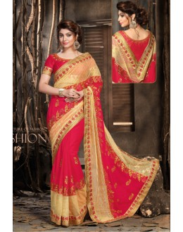 Pink Colour Net Embroidery Saree  - 18050